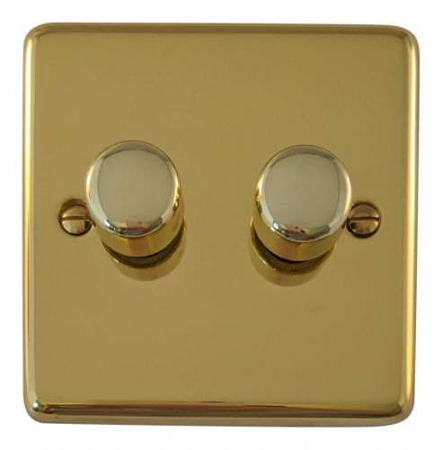 G&H CB12 Standard Plate Polished Brass 2 Gang 1 or 2 Way 40-400W Dimmer Switch
